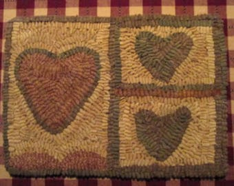 Three Hearts Primitive Rug