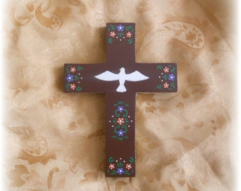 Wall Cross, Hand Painted with Holy Spirit Dove, Ready to Hang, Signed by Artist