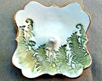 Ceramic Ring Holder with ferns  Ring Dish Ring bowl Off White edged in gold ring holders