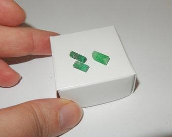 Three Emeralds - Muzo Columbian rough crystals