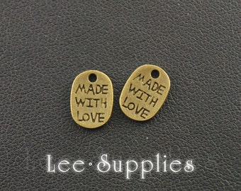 50pcs Antique Bronze Made With Love Tag Charms A133