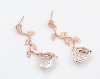 Rose gold bridal earring, Cubic Zirconia Bridal Earrings CZ vine, cz Bridal Earrings, Rose gold Earring, French jewelry, Vine bridal earring