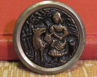 Antique Buttons Little Red Riding Hood Storybook Brass Buttons 4 Available