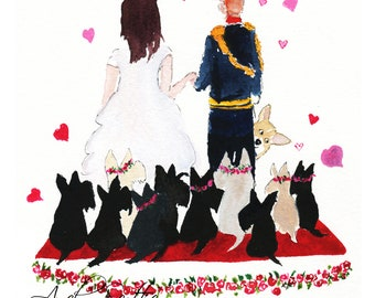 Limited edition signed print, 'Scottie Dogs Celebrating the Royal Wedding' A5 size