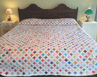 Large king size Cathedral Window quilt