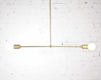 Mid Century Modern Brass  chandelier / Raw solid brass