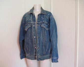 heehaw & rock n roll, vintage 1980s Turquoise Studded Jean Jacket - oversized, slouchy denim coat