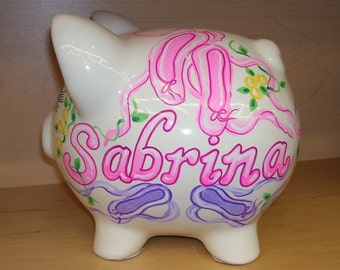 Personalized Piggy Bank Ballet Design Handpainted Pastels