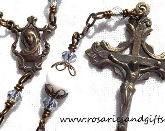 Blue/ White Blessed Virgin Mary Catholic Wire Wrapped Heirloom Rosary