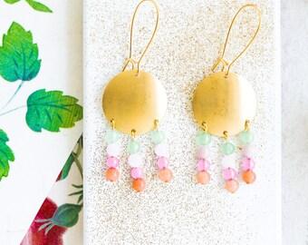 Beaded Gemstone Chandelier Earrings, Statement Chandelier Earrings, Gemstone Chandeliers, Long Chandelier Earrings