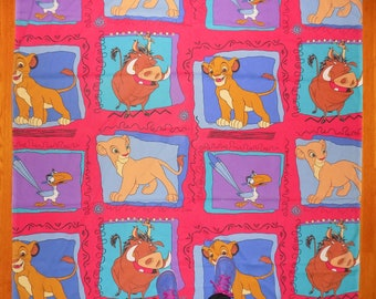 Vintage 90s Lion King Disney Movie Twin Flat Bed Sheet