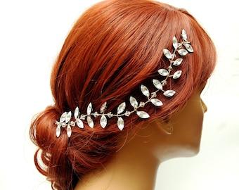 Bridal Hair Piece, Wedding Crystal Hair Vine, Bridal Leaf Hair Vine, Wedding Headpiece, Wedding Hair Accessories, Boho Wedding