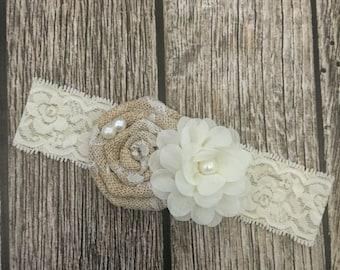 Burlap headband, Ivory headband, flower girl headband, flower headband, burlap and lace, vintage headband