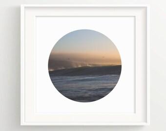 Cresting Wave Circle Print -Simple- Seagull Ocean Sunset Mist - Wall Art Print - Beach, Surf,  **DIGITAL DOWNLOAD VERSION**