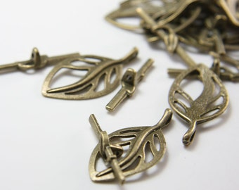 10 Sets Antique Brass Tone Base Metal Toggle Clasps (5199Y-K-202B)