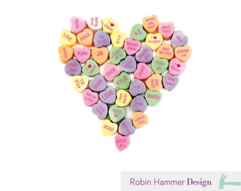 PERSONALIZED Valentine's Day Iron on, Candy Hearts, I Love Bacon, Valentine's Day Iron on's, PDF