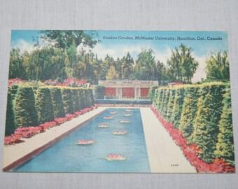 Vintage 1950's canadian postcard Mcmaster University Sunken Gardens Hamilton Ontario Canada