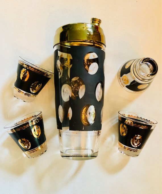 G. Reeves Signed Mid-Century Black + Gold Cocktail Shaker with Four Matching Shot Glasses - Mid-Century Modern Glassware - Vintage Barware