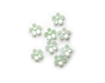 50 Pale Green Flower Flatbacks Cabochons