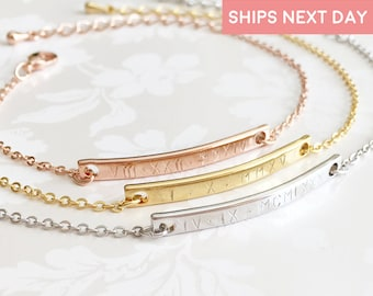 Roman Numeral Bracelet Engraved Bracelets For Women Custom Coordinates Bracelet Personalized Gift For Kids Best Friend Bracelet - 2BR