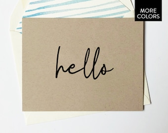 Hello Cards with Lined Envelopes / blank cards - hello card set - hi cards - friend gift - just because - just because gift - gift for her