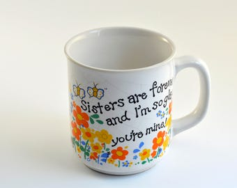 Vintage,Sister are forever,Tea Cup,Coffee cup,Butterfly Cup,Made in Taiwan,JSNY