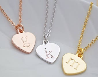Heart Personalized Necklace Initial Necklace Heart necklace Bridesmaid Gift Christmas gift Bridesmaid personalized gift for her Wedding