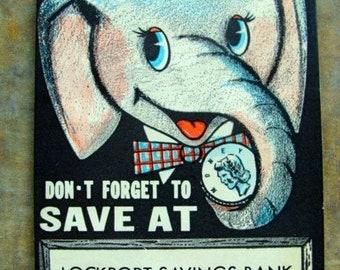ONSALE Vintage Cardboard Die Cut Unused Kitsch Elephant Coin Bank Book Copyright 1957