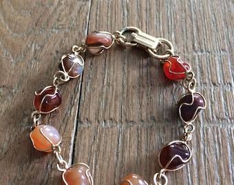 Vintage Red Stone Rock Bracelet