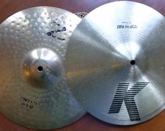 "Zildjian K/Z Hi Hat Cymbals, 13"" Pair, Vintage Drums, Zildjian Cymbals, Dyno Beat"