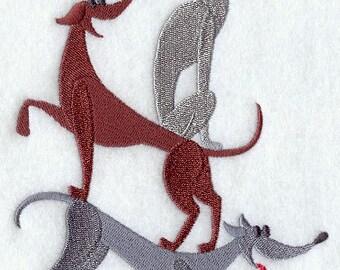 Greyhound Stack Embroidered Flour Sack Hand/Dish Towel