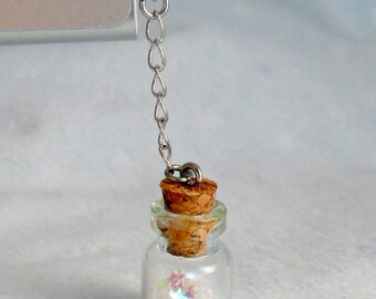 Fairy Kei Glitter Wishing Stars or Hearts Dust Plug Bottle Charm, For iPhone or iPod, Cute, Kawaii :D