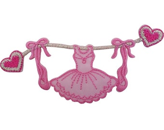 Ballerina Iron On Patch Sew On Badge Embroidered Pink Ballet Dress Shoes Hearts