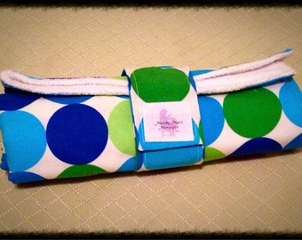 Changing Mat, Travel Changing Pad for Diaper Bag, Travel Changing Mat for Baby and Toddler Blue/Green Dots/White Terry