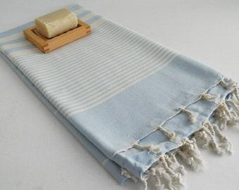 NEW / SALE 50 OFF/ Turkish Beach Bath Towel / Classic Peshtemal / Light Blue / Wedding Gift, Spa, Swim, Pool Towels and Pareo