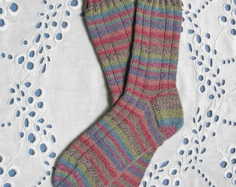 Hand Knit Ladies Socks Cotton/Wool Blend, Machine Washable