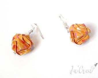 Modular origami earrings orange geometric ball