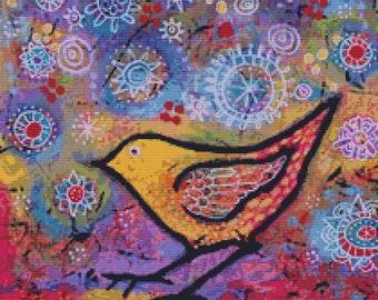 Modern counted cross stitch by Lindy Gaskill 'She Found The Secret Garden' , Needlecraft kit, Bird Cross Stitch, Whimsical Stitching