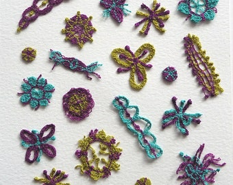 Sea Forms, plankton - unframed textile art to fit CD case or frame, machine embroidery on soluble fabric