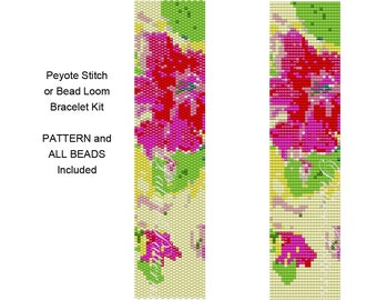 Peyote Stitch or Bead Loom Bracelet KIT - Pink Flowers on Yellow Kit - 14 Delica Color Beads Included