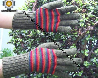 100% Alpaca Gloves with Stripes designs green and red