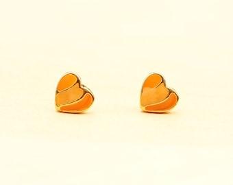 Orange Heart Studs, Heart Studs, Enamel Studs, Orange Studs, Gold Heart Studs