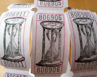 Vintage Style Hand Stamped Hourglass Carnival Tickets