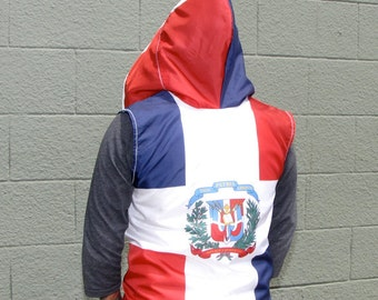 Dominican Republic Flag Hoodie - mens hoodie - handmade mens clothing - upcycled clothing - mens shirt - jacket - vest - red white blue