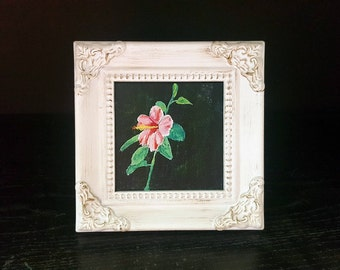 Hibiscus miniature painting with frame