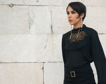VTG black blouse with transparency.
