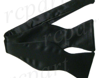 New Men's Silk Solid Black Self-Tie Bowtie, for Formal Occasions