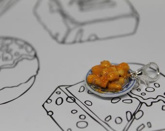Mini Plated Macaroni and Cheese Charm/ Mac and Cheese/ Comfort Food/Fall and Winter Jewelry/ Polymer Clay/ Fake Food