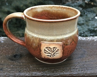 Handmade, Stoneware, Pottery, Wheel-Thrown, Two-Tone, 14 ounce Heart Stamped, Mug