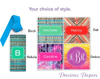 Personalized bookmarks bohemian print bookmarks, Monogramed bookmarks, personalized bookmarks teacher bookmarks teacher gifts